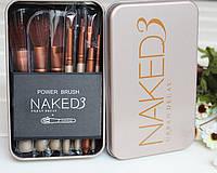 Кисти для макияжа Naked 3 12 штук  в металлическом футляре