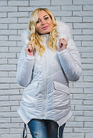 """Зимняя куртка с мехом """"Рита"""",белый (42-54 )"""