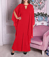 """Нарядное вечернее платье с шифоном """"Мартерина-3"""" для полных женщин"""