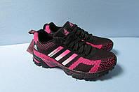 Женские кроссовки Adidas (7305-5) черные с малиновым код 2806А