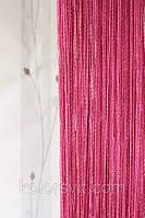 Шторы-нити малиновый с серебристым люрексом №155