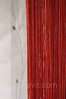 Шторы-нити красные с серебристым люрексом №144