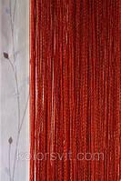 Шторы-нити красные с золотистым люрексом №143