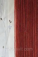 Шторы-нити бордовые с золотистым люрексом №160