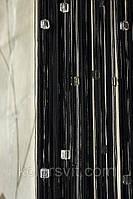 Шторы-нити кисея Квадратный стеклярус №9+1 (черный с прозрачным камнем)