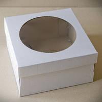 Коробка для торта 25х25х11 см. (белая с окошком)