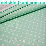Лоскут ткани №524   с белым горошком 11 мм на мятном фоне, фото 2