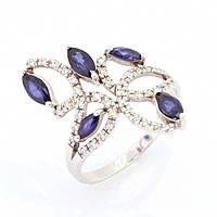 Золотое кольцо с бриллиантом и сапфиром