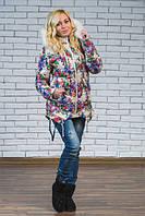 """Зимняя куртка с мехом """"Рита"""",цветы (42-54 ) 44"""