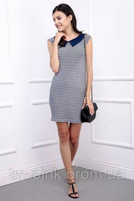 Сукня смугаста з коміром синя