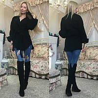 Женское короткое пальто на запах кашемир размеры 42-44, 46-48