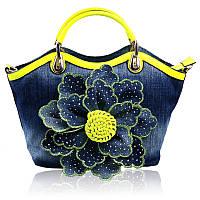 Джинсовая сумка со стразами роза цветок 5 расцветок, фото 1