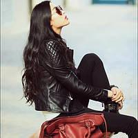 Стильная женская короткая кожаная куртка 3 цвета, фото 1