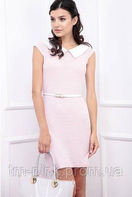 Сукня смугаста з коміром рожева