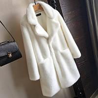 имитация меха кролика женское пальто шубка белая удлиненная , фото 1