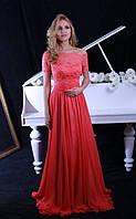 Вечернее платье (Веч-МП-17-02) для выпускного вечера, свидетельницы и пр. мероприятий (цвет - коралл, 42-44)