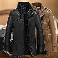 еко-шкіряні чоловіча куртка осінь-зима молодіжна куртка комір стійка 2 кольори