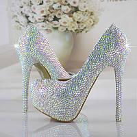 ручной работы кристалл-камни свадебные туфли