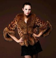 новая импортная имитация меха лисы леопард шубка полосатый жилет с коротким мехом, фото 1
