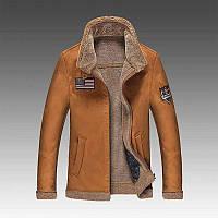Меховая кожаная куртка  воротник зимняя одежда осень и зима короткий