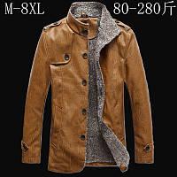 осенние и зимние мужские куртки среднего возраста плюс бархат PU кожаная куртка , фото 1