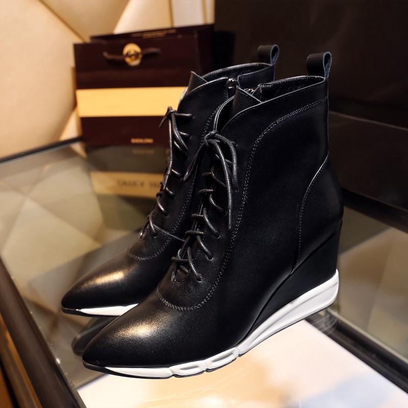 9d569c0e5 Обувь осень и зима шнуровкой Мартин сапоги женские британский кожаные  ботинки - Интернет-магазин