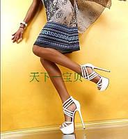 Подиум 16 см  туфли кожаные женские босоножки ультра высокий каблук