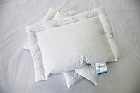 Пуховая подушка облегченная, не высокая. (100% пух гусиный белый) в напернике с немецкого тика, с кантом