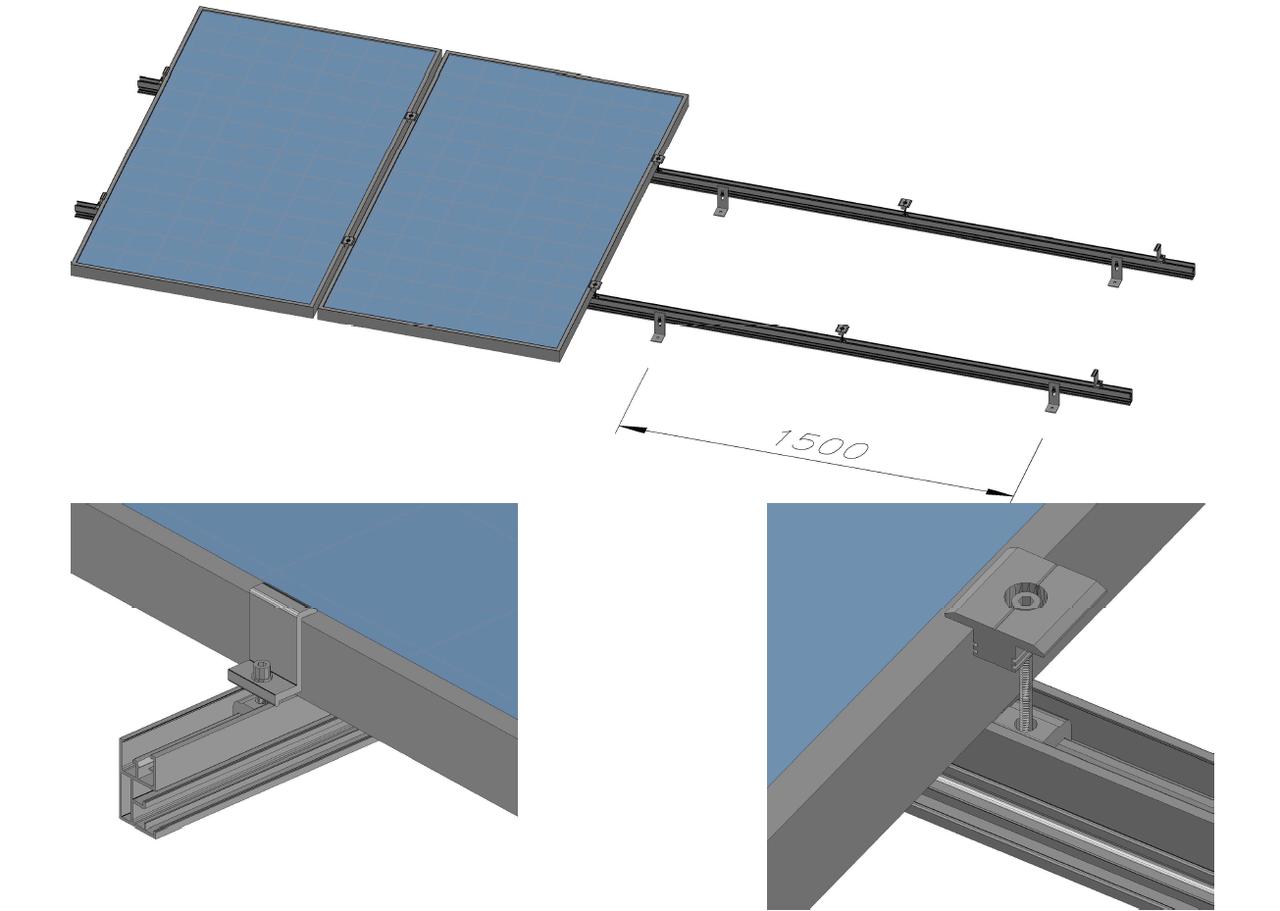 Комплект кріпленя для 2 шт. сонячних батарей - Правильне електроживлення в Львове