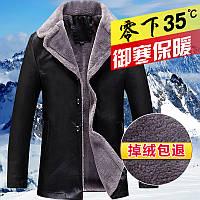 PU кожаная куртка мех плюс бархат кожаная куртка мужская, фото 1