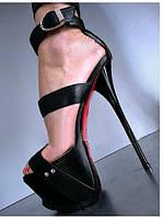 Lorenzi чорна лакована шкіра супер високий каблук босоніжки