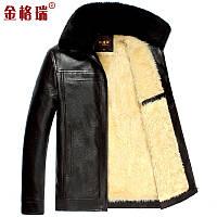 Осень и зима плюс бархат толстые теплые среднего возраста PU кожаная куртка мужская, фото 1