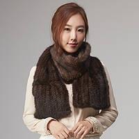 Норковый меховой шарф воротник вязанная норка, фото 1
