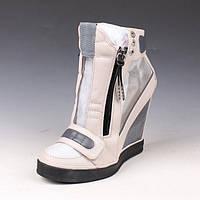 шкіряні марлеві високі черевики танкетка 2 кольори