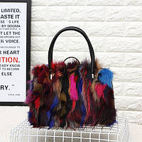 Красочные лисий мех женская сумка меховая, фото 1