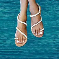 Стены цветы оригинальный дизайн в стиле барокко. Обувь жемчужина с плоским дном плоским пятки сандалии лето простой клип ног праздником женщин
