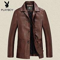 Кожаная мужская куртка пиджак весна 2 цвета
