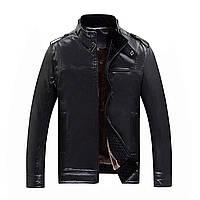 Еко-шкіряна куртка чоловіча, комір стійка плюс оксамит хутро