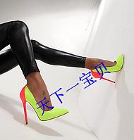 кожаные двух цветные туфли ультра высокие каблуки  , фото 1