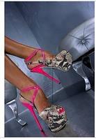 Lorenzi босоножки каблук 16 см змея/роза высокий каблук