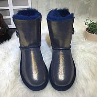 зимние ботинки сапоги женские меховые водонепроницаемый угги кристалл пряжка , фото 1