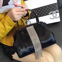 Женская кожаная сумка меховая с бисером и конский волос