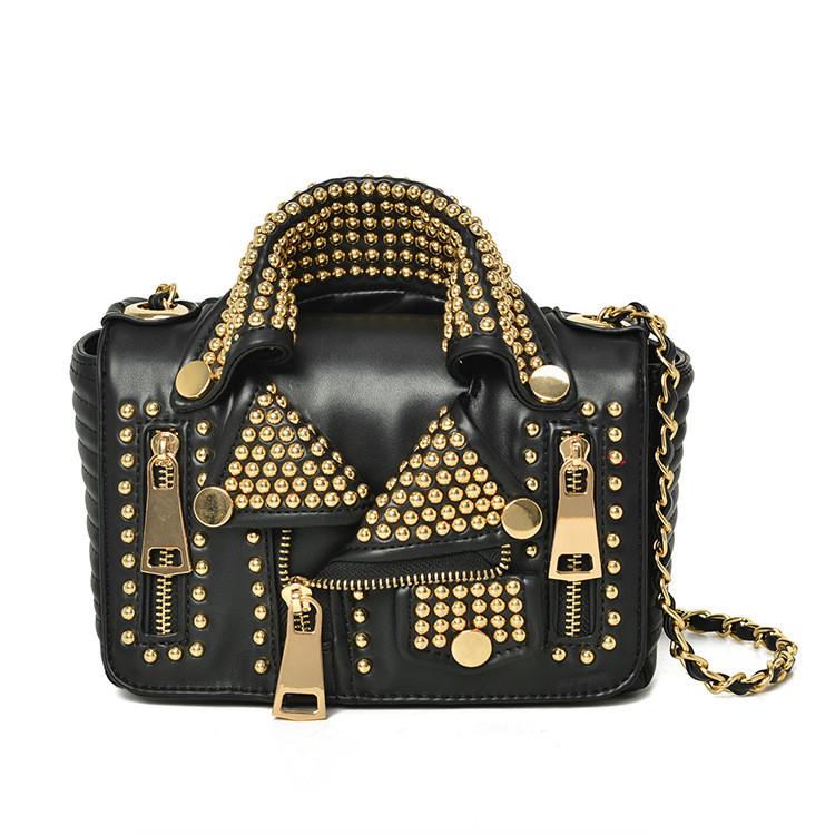 34102325e53c Новая женская сумка личности заклепки на цепочке сумка пиджак 2 цвета -  Интернет-магазин