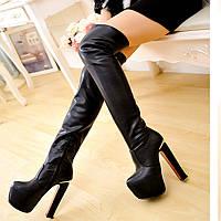 Сапоги женские зима ботфорты на толстом каблуке 15см , фото 1