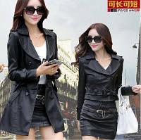 2 в 1 съемное женское пальто-плащ и кожаная короткая куртка-пиджак 3 цвета