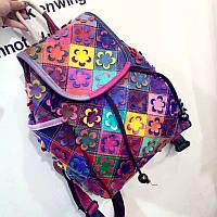 Кожаный женский рюкзак яркий, стильный цветы 2 цвета , фото 1