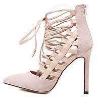 заостренный носок замша ремень босоножки шнуровка на высоких каблуках 2 цвета, фото 1