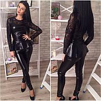 Женский костюм лосины и блуза эко кожа + турецкий гипюр Размеры:42-44; 44-46