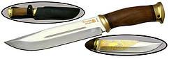 Нож с фиксированным клинком Таёжный-2,Латунь орех ,позолота +чехол.
