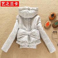 Хлопок одежда женские короткие студент плюс толстый тонкий корейский зима новый стиль молния бант стеганая куртка женщин пальто